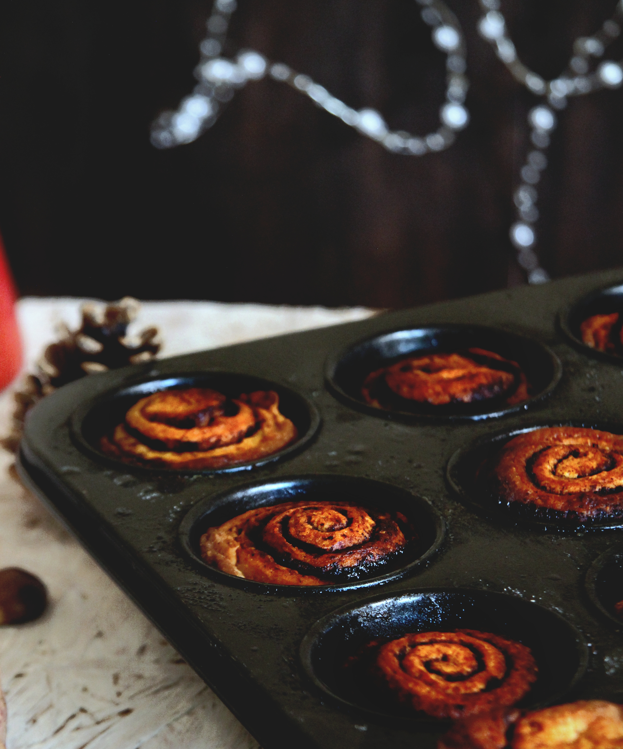 kakaós csiga muffin formában sütve